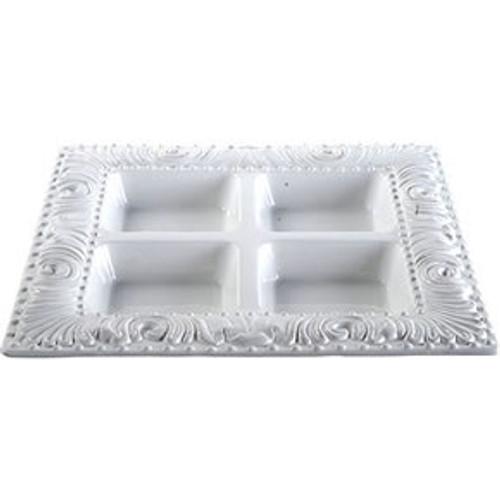 """Ceramic Embossed Rim 4-Part Plate 13.5""""X13.5"""""""
