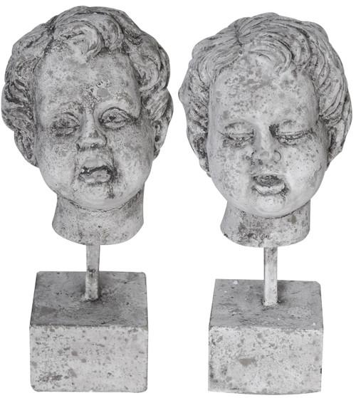 Man-Made Stone Cherub Figurines On Stands, 2-Piece Set