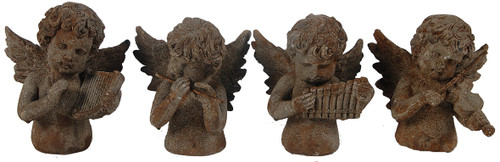 "Music Angel Statue 5""X4""X6"" Set Of 4"
