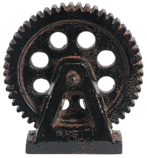 "Ceramic Gear Wheel Statue Black 10.7""X3.2""X11.8"""