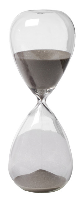 Hand Blown 30 Min  Hourglass Sand Timer With Gray Sand