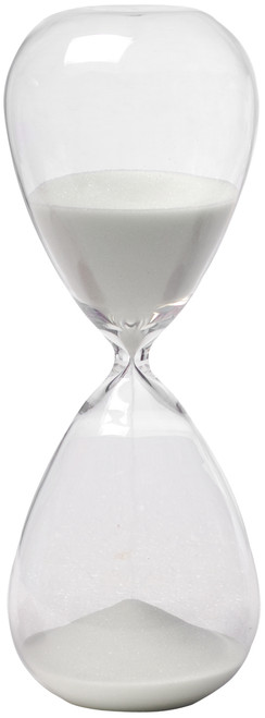 Hand Blown 30 Min  Hourglass Sand Timer With White Sand