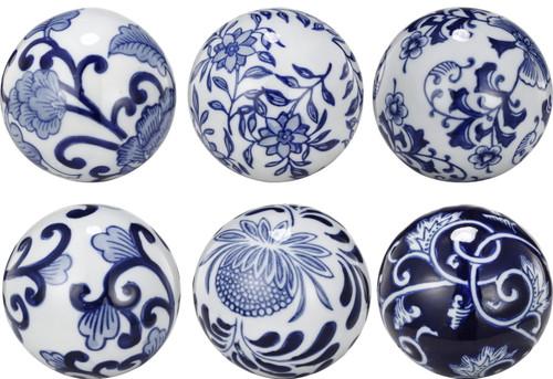 "3"" Blue & White Decorative Orbs Set Of 6"