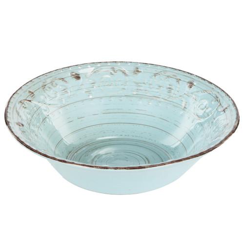 """Aqua Blue Rustic Fare Serving Bowl 10""""X3"""" Set of 2"""