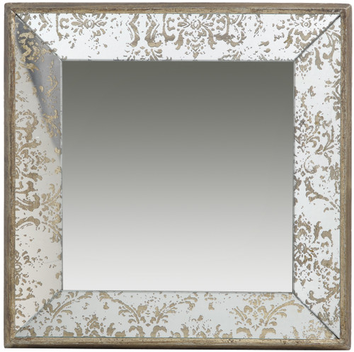 "Antique-Look Frameless Wall Mirror/Tray 15""x15"""