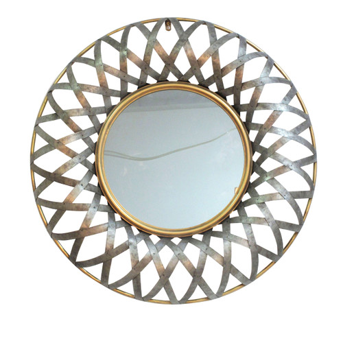 "Metal Wall Mirror D29.5""x3"""