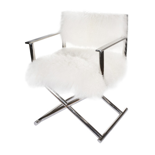 Mongolian sheep fur creates a fabulously fuzzy, superbly cozy respite. This beautiful authentic Mongolian Fur Director's Chair brings instant fashion to your space. With a soft sumptuous seat and back and polished steel frame this stunning chair is guaranteed to make an elegant addition to your home.
