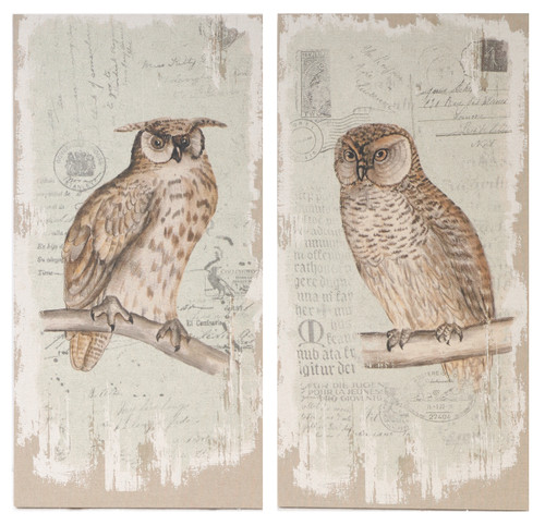 Prints On Canvas Owls, 2-Piece Set