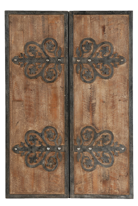 Wood Iron Wall Plaques, 2-Piece Set