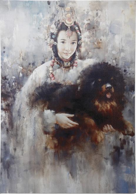Print On Canvas Lady And Tibetan Mastiff