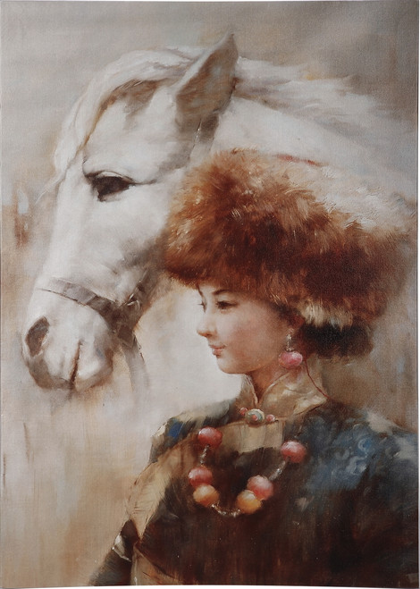 Print On Canvas Tibetan Gril And Horse
