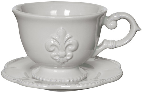 Set of 4 Ceramic Fleur-de-Lis Cup Saucer Set White
