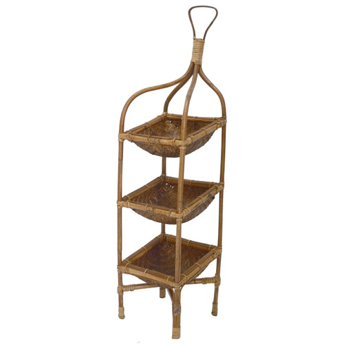"3-Tiered Rattan Basket Tray On Stand 8""x8""x33"""