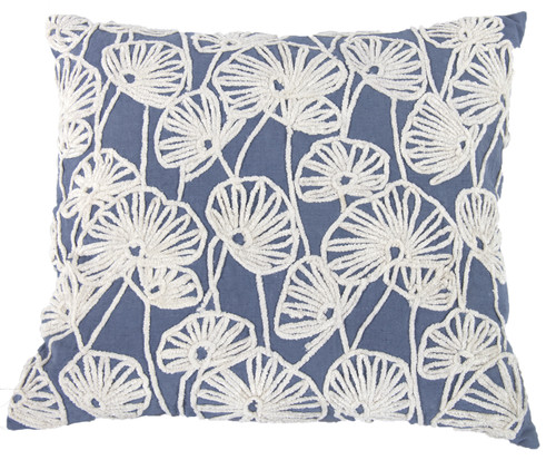 """Floral 100% Cotton Embroidered Pillow 18X20"""" Blue"""