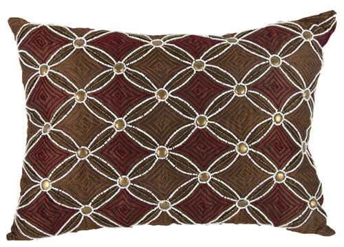 "Poly Silk Embellished Lumbar Pillow 14X20"" Copper"