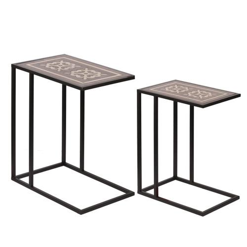 Raj Brass Inlaid Nesting Table Set Of 2