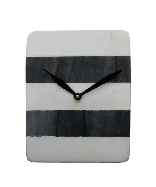 "Marble Table Clock 6""x2""x7.5"""