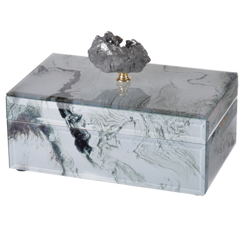 "White Marbled Jewelry Case 8.5""X5""X5"""