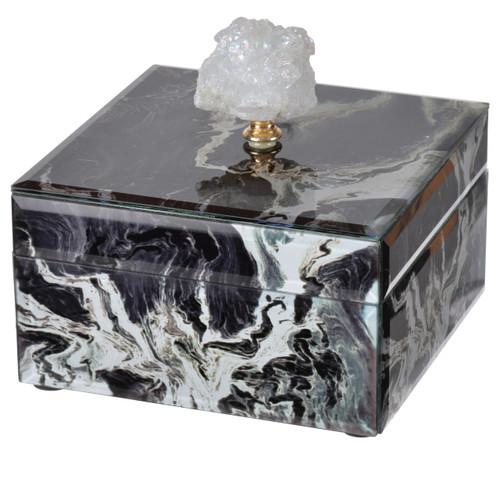 "Black Marbled Jewelry Case 6""X6""X5"""
