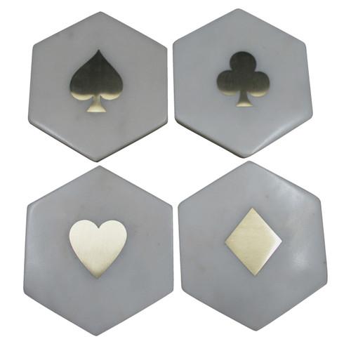 Banswara Hexa Coastes W/ Brass Inlay Set Of 4
