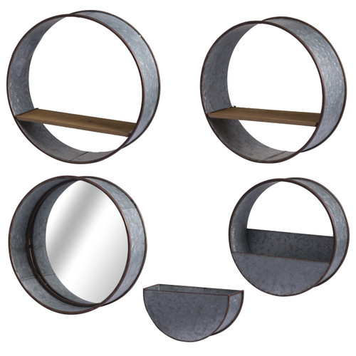 Zale Round Wall Planters - Set of 5 Urban Industrial/Gray