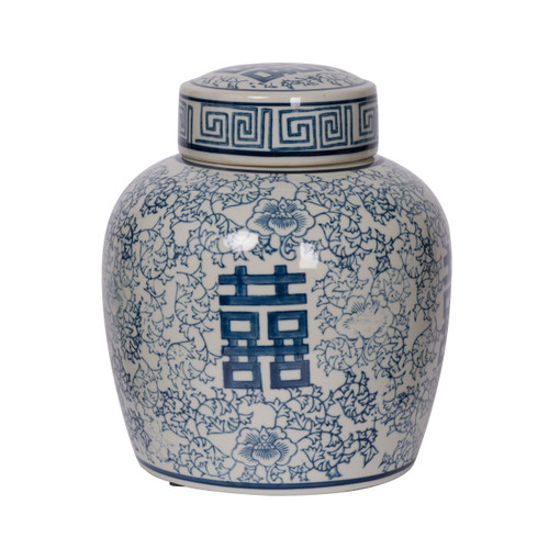 "Berit Round Lidded Jar D8x9.5"" Blue White"