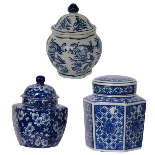 "5"" Decorative Porcelain Jars Set of 3 Glazed Hand Painted Blue White Ceramic Vase with Lid Centerpiece Ginger Jar Asian Décor"