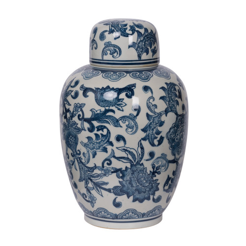 "Merie Lidded Decorative Jar D8.5x12.5"" Blue White"