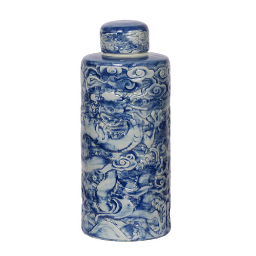 "Inez Lidded Decorative Jar D6x14"" Blue White"