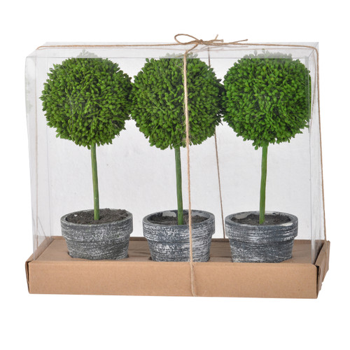 A set of three, the Mini Faux Potted Boxwood Topiaries come as a gift set. They can be arranged on a dining table or throughout a home or office. This trio comes in rustic charcoal finished planters.
