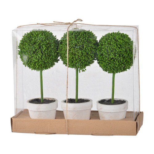 Our Mini Faux Topiaries - Set of 3 are perfect as a coffee or dining table centerpiece. Of course, you can also divide them and use in multiple rooms throughout the home to bring that touch of nature indoors in the off-season.