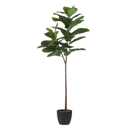 A favorite of interior designers, this large potted fiddle-leaf tree is forever green with requires zero care. Brighten any corner of your home with the lifelike statement tree.