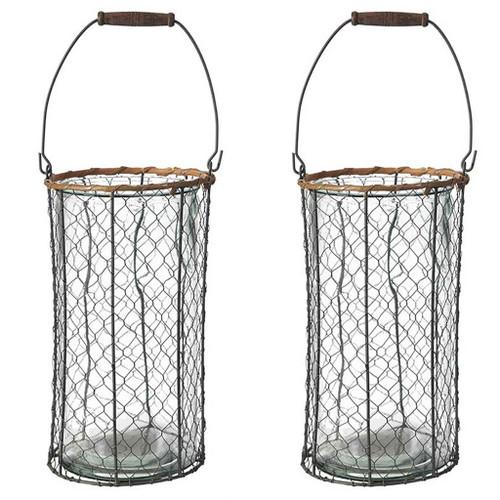 "Set Of 2 Wire Glass Hurricane Lantern 7.9""x13"""