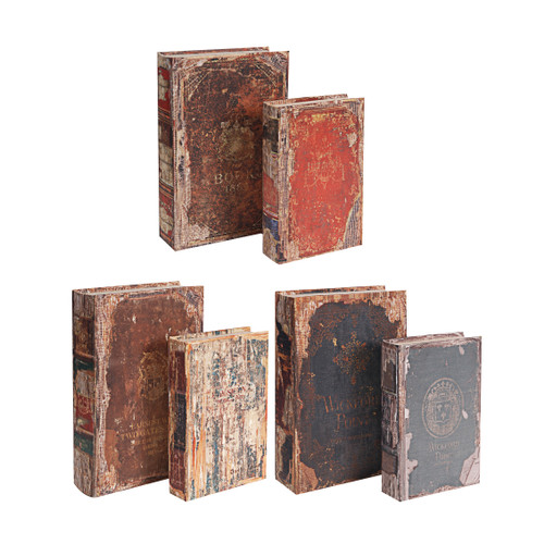 Antique Multi-Colored Book Boxes Set Of 6