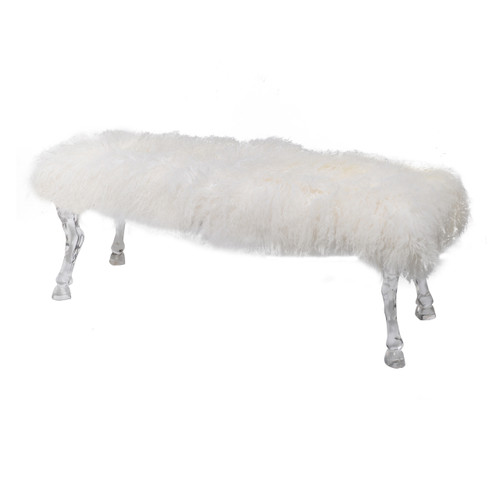 Pure decadence, The Mongolian Faux Fur Bench is wonderfully soft and inviting. Dressed in fluffy bright-white faux fur, our Mongolian Fur Bench brings a dressing room or boudoir to life.