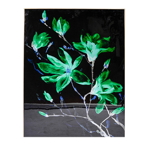 Create a stunning focal point in your favorite space with this vibrant flower print. The vivid green flowers seem to jump out from the rich black background for an almost ethereal visual effect. This print is constructed from canvas over MDF.