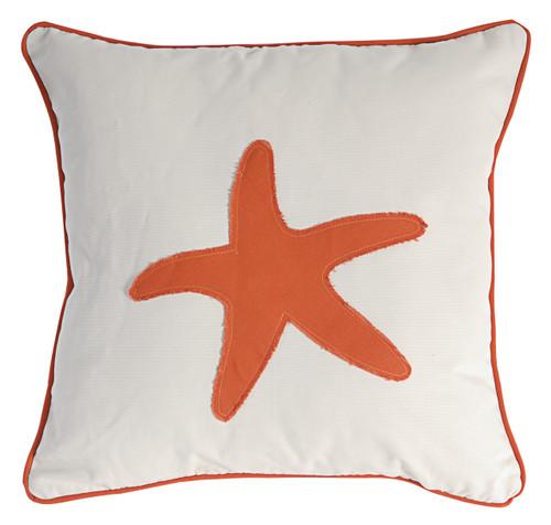 Pillow Starfish Seashell Design Red