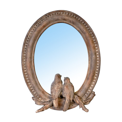 Mirror w/ Birds Sculpture 7.5x9.5""