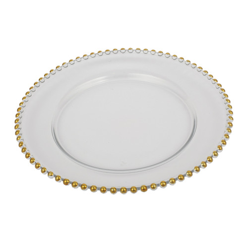 With its dazzling gold beading, a simple white plate is transformed into an exquisite charger. This charger beautifully frames dinner plates with its gleaming gold rim and turns any meal into a special event. With its timeless elegance and simplicity, this charger effortlessly matches most china patterns.
