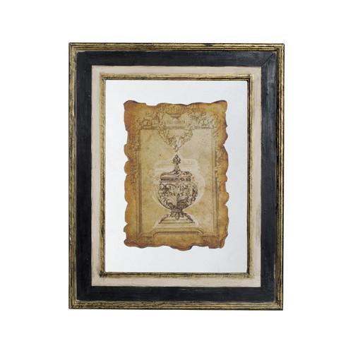 "Antiqued Wood Frame Glass Wall Art 23x28"""