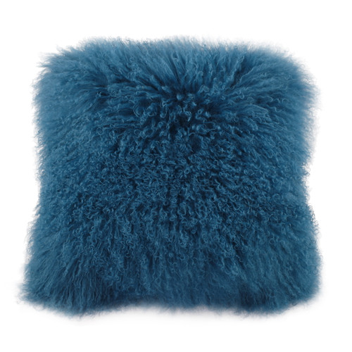 "Mongolian Lamb Fur Pillow Blue 20X20"""