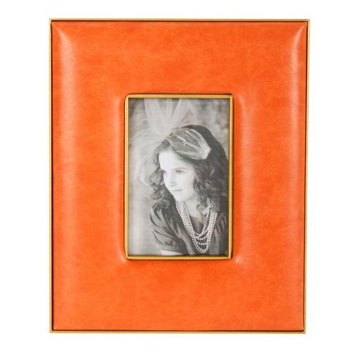 """Faux Leather Photo Frame Orange, 3x4"""" Opening"""