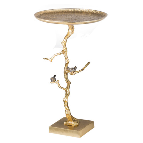 Whimsical and elegant, this dazzling side table mimics the shape and character of a natural tree branch. Adorable birds perch atop the decorative branches every second glance reveals additional details your guests are sure to love. Sturdy metal construction gleams with a radiant gold finish, adding classic opulence to any interior.