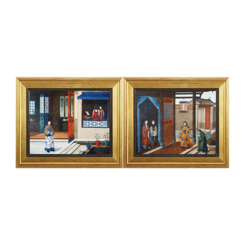 A Royal Visitor And Woman At Her Toilette Set Of 2
