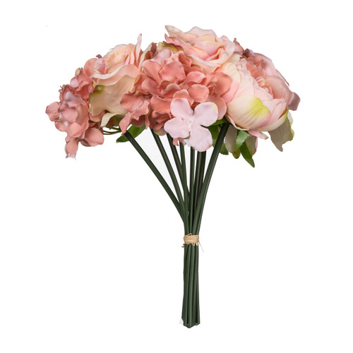 Bring the beauty and splendor of a Silk Peon, Hydrangea & Rose Bouquet flower arrangement into your home. Every petal feels real and soft to the touch. The best part is no maintenance is required.