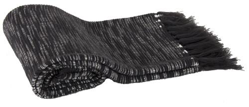 Heathered Acrylic Throw Blanket, Black