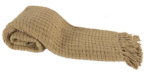 Micro Poly Basketweave Throw Blanket, Camel