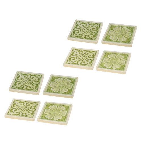 "Set Of 8 Kelly Ceramic Coast 4x4"" Green"