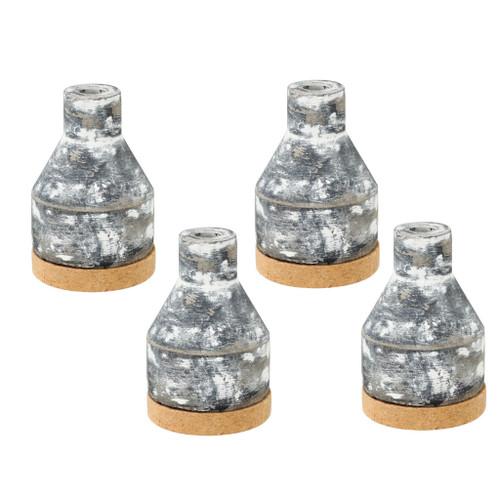 """Set Of 4 Ridge Square Ceramic Vase D3.5x5"""""""