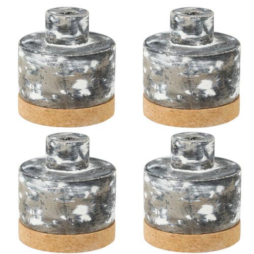 """Set Of 4 Ridge Round Ceramic Vase D3.5x3.5"""""""